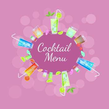 Vector frame with colorful cocktails - Free vector #129426