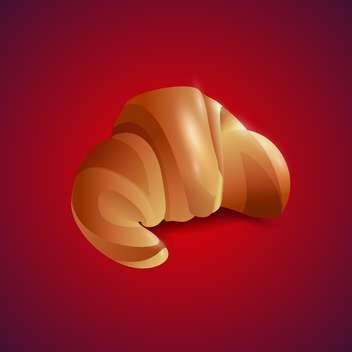 Vector illustration of croissant on red background - Free vector #129436