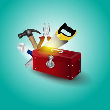 Vector illustration toolbox with tools on green background - Free vector #129486