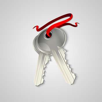 Vector illustration of sheaf of two silver keys with red ribbon - vector gratuit #129506