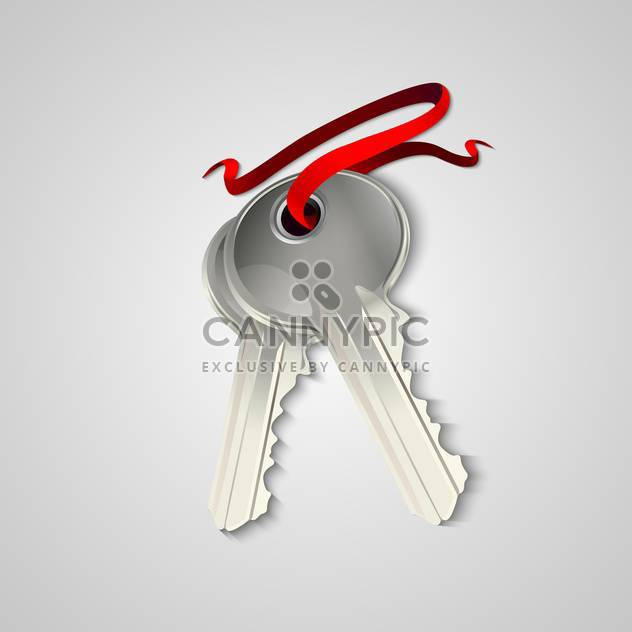 Vector illustration of sheaf of two silver keys with red ribbon - Free vector #129506