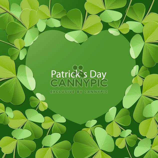 Vector St Patricks Day greeting card with heart and clover leaves - Free vector #129526