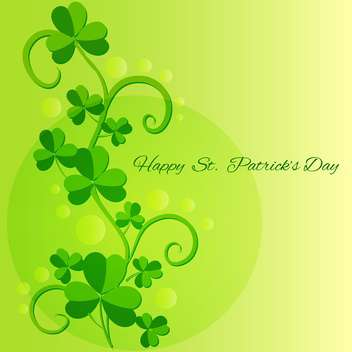 Vector green St Patricks Day greeting card with clover leaves - бесплатный vector #129536