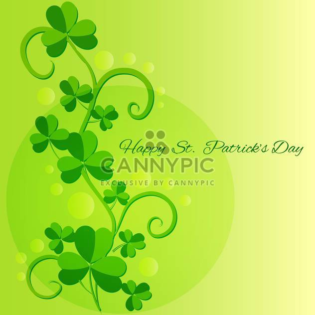 Vector green St Patricks Day greeting card with clover leaves - Free vector #129536
