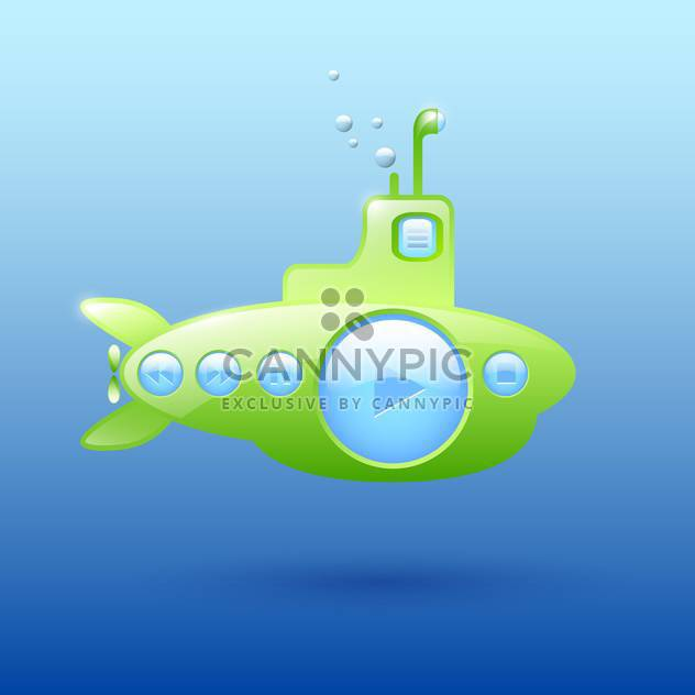 Vector illustration of green submarine media player on blue background - Free vector #129566
