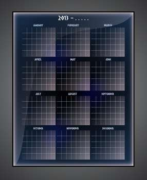 Vector illustration of black calendar template on black background - бесплатный vector #129586