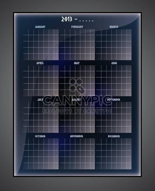 Vector illustration of black calendar template on black background - Free vector #129586