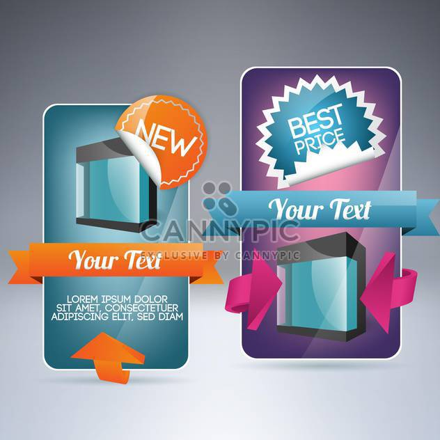 Vector banners set for sale with stickers and labels. - Free vector #129616