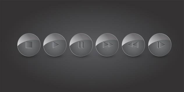 Vector set of shiny media buttons on gray background - vector gratuit #129696