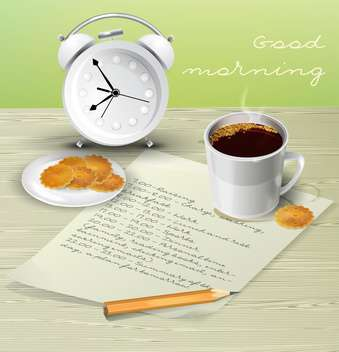 Vector illustration of morning table for breakfast with schedule, cup of coffee, biscuits, alarm clock and pencil - бесплатный vector #129726