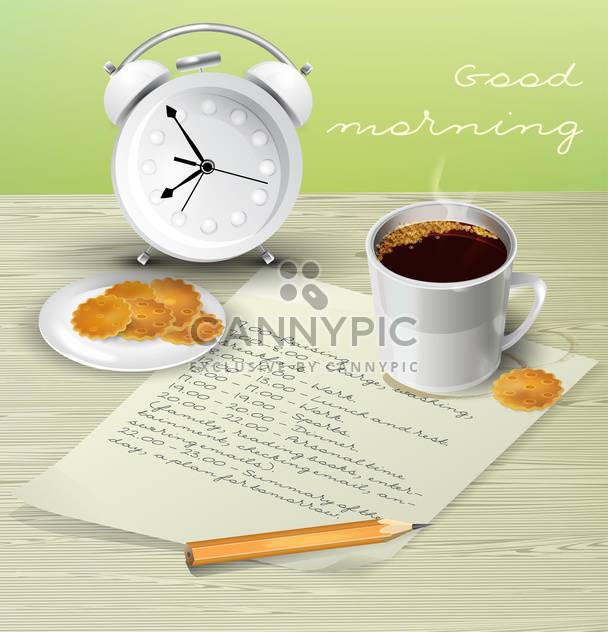 Vector illustration of morning table for breakfast with schedule, cup of coffee, biscuits, alarm clock and pencil - Free vector #129726