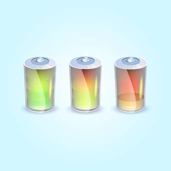 Vector illustration of three batteries icons on blue background - Free vector #129746