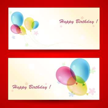 Birthday greeting cards with balloons on red background - vector gratuit #129766