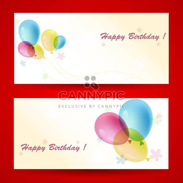 Birthday greeting cards with balloons on red background - Free vector #129766