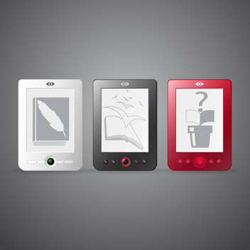 Vector set of three e-readers on gray background - vector gratuit(e) #129776