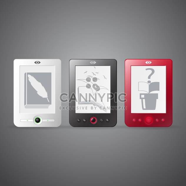 Vector set of three e-readers on gray background - Free vector #129776
