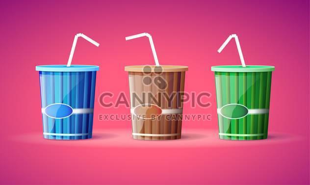 Vektor-Illustration von drei bunte Kunststoffbehältern mit Strohhalmen auf rosa Hintergrund - Kostenloses vector #129786