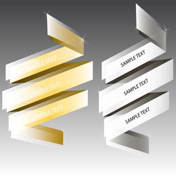 Vector silver and golden ribbons for text on gray background - Kostenloses vector #129816