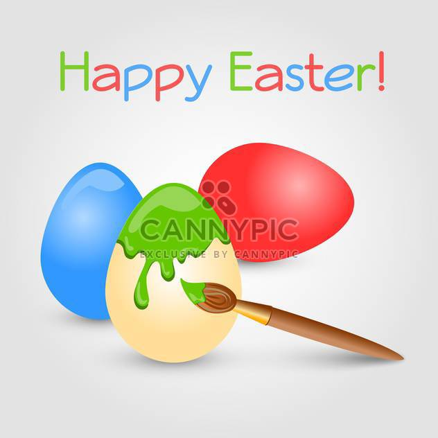 Osterkarte mit bunten Eiern-Vektor und Pinsel auf grauem Hintergrund - Free vector #129906