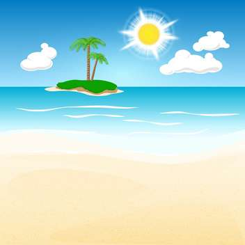 Lonely green island with palm trees - vector gratuit #129996
