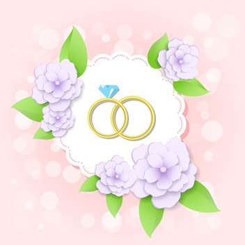 wedding card with golden rings with flowers - vector gratuit #130016
