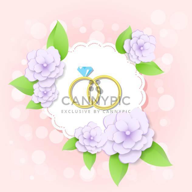 Hochzeit-Karte mit goldenen Ringe mit Blumen - Kostenloses vector #130016