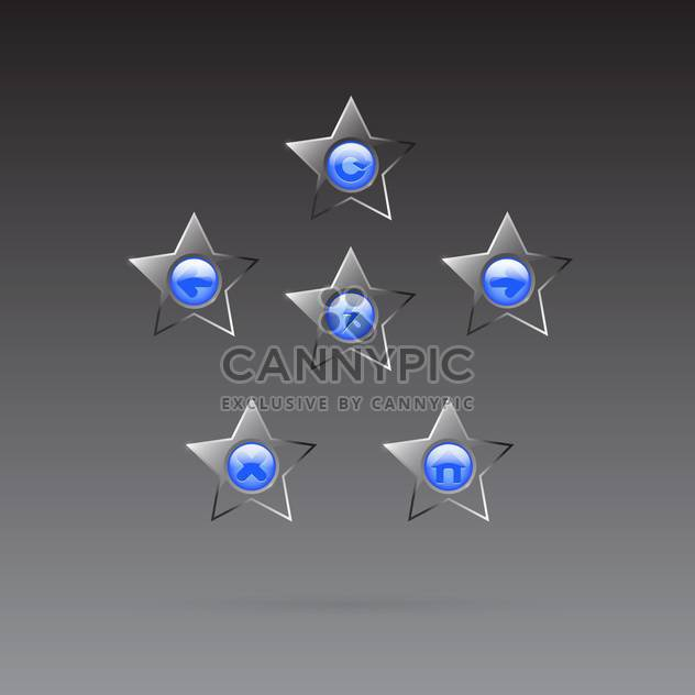 Vector glass star browser buttons set on dark background - Free vector #130026