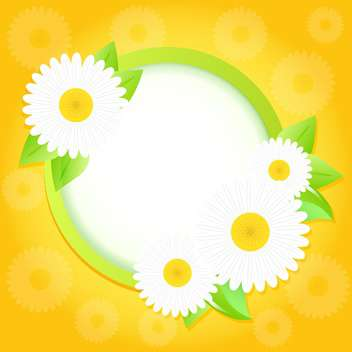 Spring frame with flowers on bright yellow background - vector gratuit(e) #130056