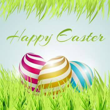 Vector background for happy Easter with eggs in green grass - Free vector #130086