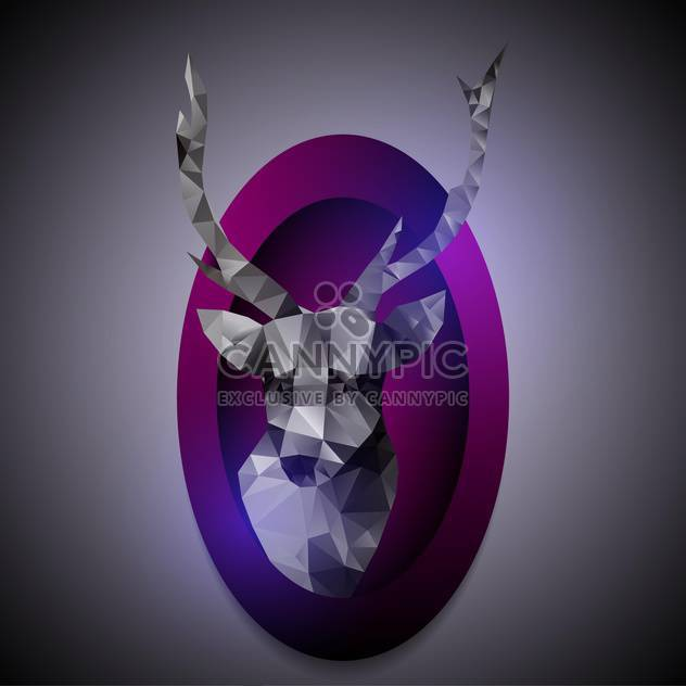 Vector illustration of polygonal deer head in purple frame - Free vector #130096