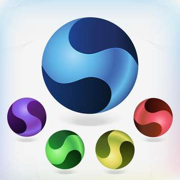 Set of colorful balls on white background - Free vector #130106