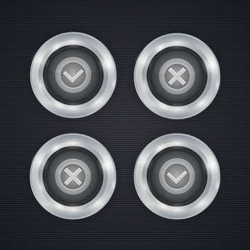 Vector check mark buttons on dark background - Free vector #130156