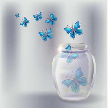 Vector illustration of glass jar with butterflies - Free vector #130196