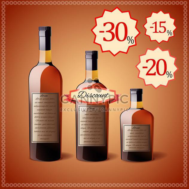alcohol bottles discount price tags - Free vector #130306