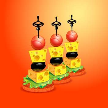vector tasty party canapes set - vector gratuit #130336