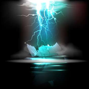 vector lightning in night illustration - vector gratuit #130346
