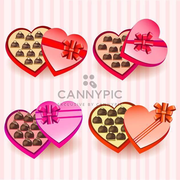 Set mit Herz-Valentinstag Schokolade-Boxen - Free vector #130396