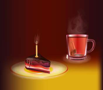Cup of tea with a piece of cake - vector #130446 gratis