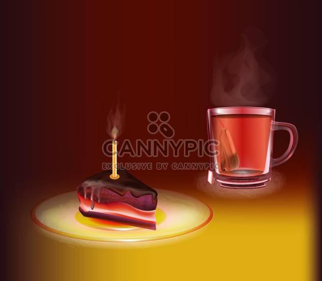 Tasse Tee mit einem Stück Kuchen - Free vector #130446