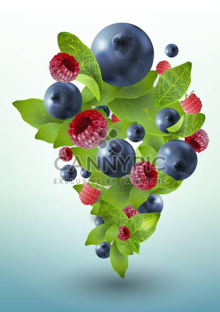 summer ripe berries with mint leaves - Free vector #130496