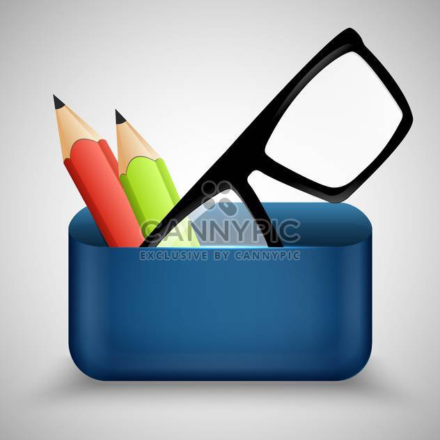 Vector illustration of eyeglasses and two pencils - Free vector #130526