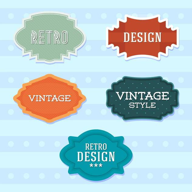 Vector vintage retro colorful labels on blue background - vector gratuit(e) #130536