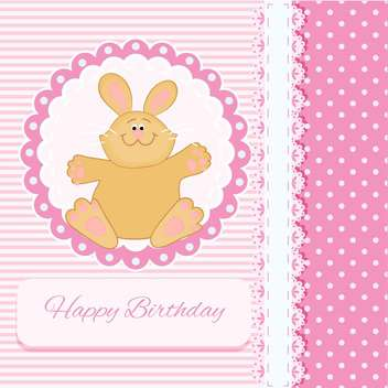 Vector Happy Birthday pink card with bunny - Free vector #130556