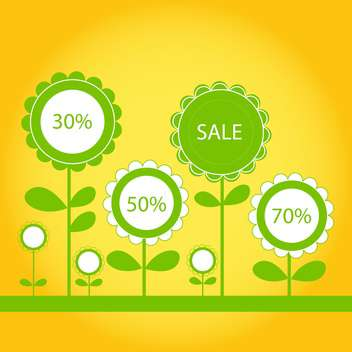 discount signs in blossom flowers on yellow background - vector gratuit(e) #130576