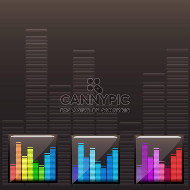 Vektor-bunte Musik-Spektrum festgelegt auf schwarzem Hintergrund - Kostenloses vector #130636