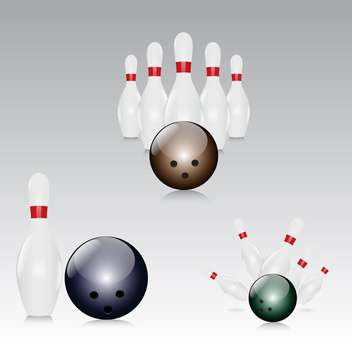vector illustration of skittles with bowling balls on grey background - бесплатный vector #130646