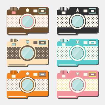 old style photo cameras collection on grey background - vector gratuit #130656