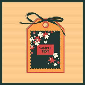 Paper floral tag on beige background - Kostenloses vector #130726
