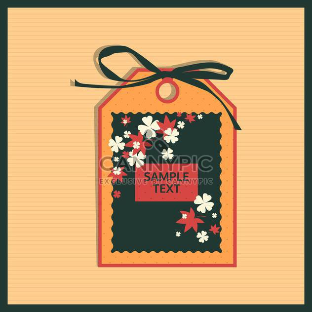 Paper floral tag on beige background - Free vector #130726
