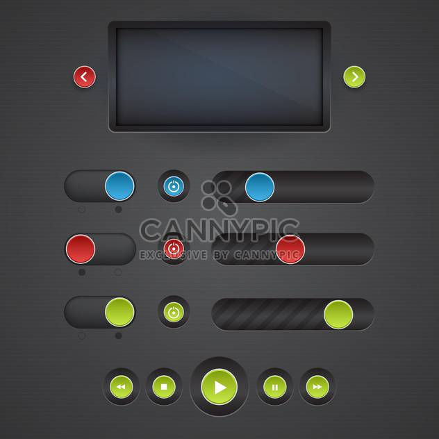 Vector set of media buttons on dark background - Free vector #130736